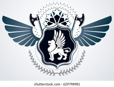 Vintage heraldry design template, vector emblem created using eagle wings, wild lion illustration and monarch crown.
