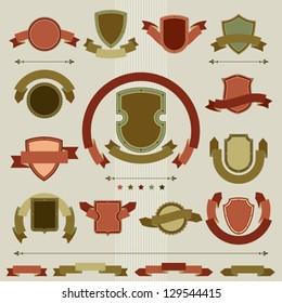 Vintage heraldry shields and ribbons retro style set.