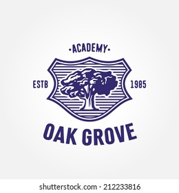 Vintage Heraldry Symbol, logo with old mighty tree oak,  communicates such values as traditions, heritage, intelligence, reputation, stability, safety, wisdom, experience
