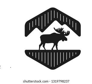 vintage hexagon mountain and silhouette moose logo image inspirasion