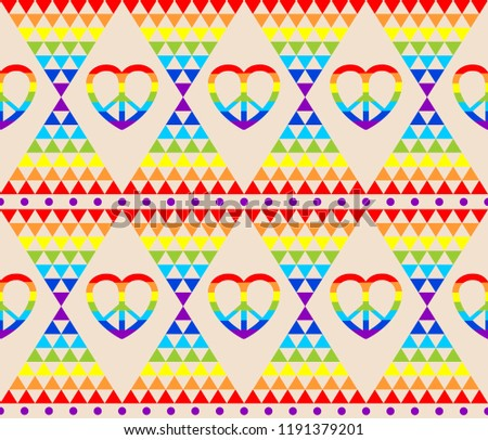 Vintage hippie wallpaper with rainbow, hippie symbol, psychedelic abstract triangle colorful pattern