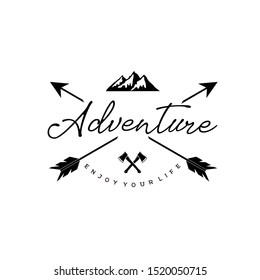 Vintage hipster adventure lettering logo with arrows mountain and crossed ax logo design