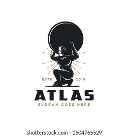 Vintage hipster Atlas god logo icon vector illustration on white background