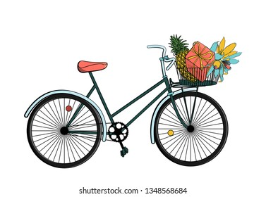 Vintage hipster bicycle with gift box, pinapple and flowers inside basket. isolated on white background. stock vector illustration.