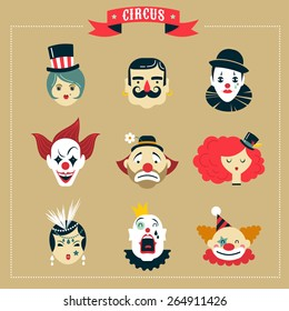 Vintage Hipster Circus, freak show icons and characters