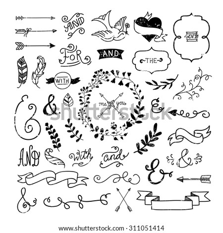 vintage hipster design elements hand drawn stock vector royalty