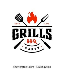 Vintage hipster Grill Barbeque party invitation barbecue bbq with crossed fork spatula and fire flame icon Logo badge design