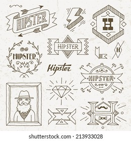 Vintage hipster hand drawn design elements set 8. Vector illustration.