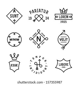 vintage hipster labels with heart, arrow, crown