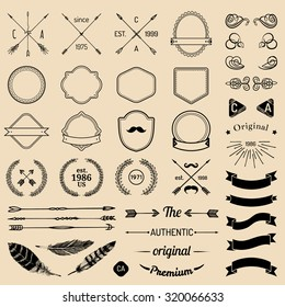 Vintage hipster logo elements with arrows, ribbons, feathers, laurels, badges. Design your own vintage label. Retro emblem template constructor. Prime icon creator.