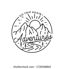 vintage hipster Mountain and river for adventure monoline badge logo design