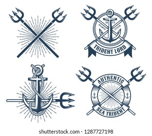 Vintage hipster navy tattoo logos with crossed tridents ribbons and anchors. Vector illustration.