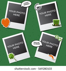 Vintage hipster retro stile for St. Patrick's Day. Decorative vector template frame. These photo frame can be use for kids picture or memories. Scrapbook design concept. Inset your picture.