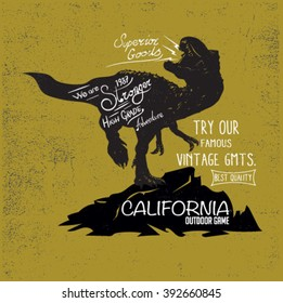 vintage historical label design with grunge effect.world fossil cultures.dinosaur silhouettes