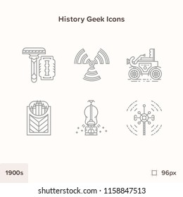 Vintage history icons 1900s. Technology and Science evolution
