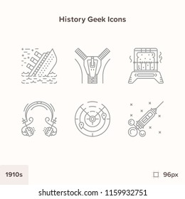 Vintage history icons 1910s. Technology and Science evolution