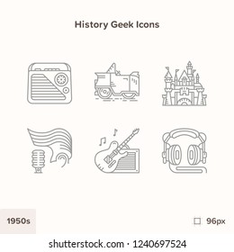 Vintage history icons 1950s. Technology and Science evolution