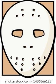 vintage hockey goaltender mask color illustration