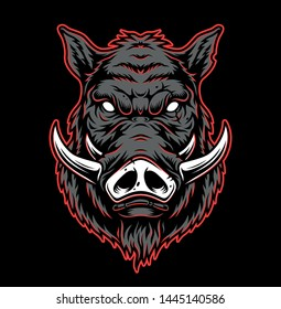 Vintage hog head concept in gray and red colors isolated vector illustration