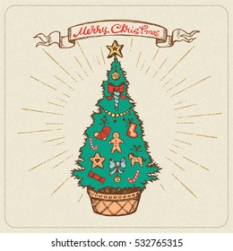"""Vintage Holiday Card. Vector Hand Drawn Illustration with Fir-Tree in a Pot, Decoration Elements and """"Merry Christmas"""" Lettering."""