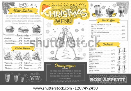 Vintage Holiday Christmas Menu Design Champagne Stock Vector