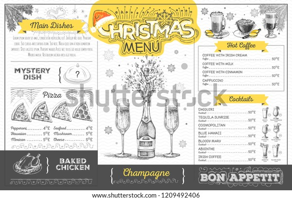 Vintage Holiday Christmas Menu Design Champagne Stock Vector