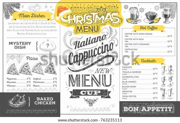 Vintage Holiday Christmas Menu Design Restaurant Stock
