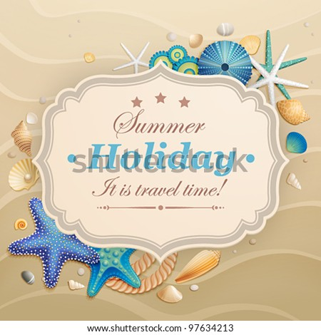 Vintage holiday greeting card shells starfishes stock vector vintage holiday greeting card with shells and starfishes and place for text m4hsunfo
