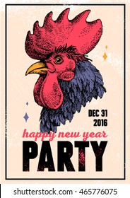 Vintage holiday poster for Merry Christmas and Happy New Year party with hand drawn sketch rooster portrait. Vector illustration for card, print, fashion design and t-shirt graphics
