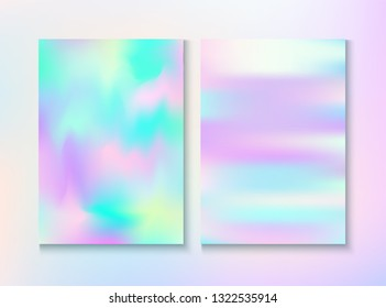 Vintage Hologram 80, 90 Retro Party Vector Poster. Holographic Gradient Overlay. Dreamy Pearlescent Cover, Blank Paper, Teal. Bright Wallpaper. 80s Vintage Hologram Retro Background.