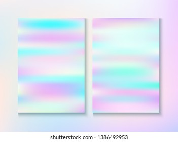 Vintage Hologram 80, 90 Retro Party Vector Poster. Dreamy Light Pearl Cover, Blank Paper, Teal. Holographic Gradient Overlay. Bright Template. 80s Vintage Hologram Retro Background.