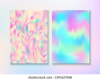 Vintage Hologram 80, 90 Retro Party Vector Poster. Holograph Gradient Overlay. Laser Illustration. Dreamy Pearlescent Cover, Blank Paper, Teal. 80s Vintage Hologram Retro Background.