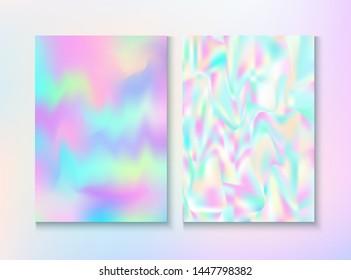 Vintage Hologram 80, 90 Retro Party Vector Poster. Hologram Gradient Overlay. Chrome Template. Pastel Iridescent Cover, Blank Paper, Teal. 80s Vintage Hologram Retro Background.