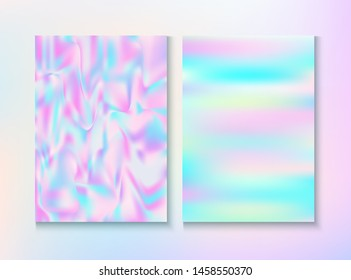 Vintage Hologram 80, 90 Retro Party Vector Poster. Holograph Gradient Overlay. Pastel Pearlescent Cover, Blank Paper, Teal. Energy Wallpaper. 80s Vintage Hologram Retro Background.