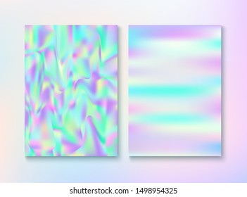 Vintage Hologram 80, 90 Retro Party Vector Poster. Holograph Gradient Overlay. Chrome Illustration. Fairy Pearlescent Cover, Blank Paper, Teal. 80s Vintage Hologram Retro Background.