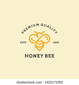 vintage honey bee logo template illustration vector graphic download