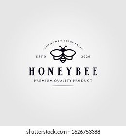 vintage honey bee logo village farm vector illustration design