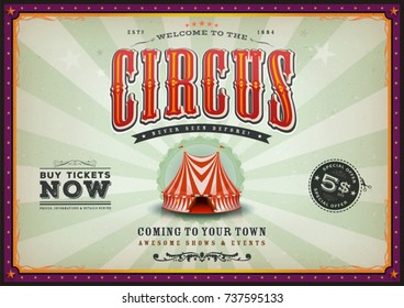 Vintage Horizontal Circus Poster With Sunbeams/ Illustration of a vintage circus poster background, with floral patterns, red and blue big top, elegant titles and grunge texture