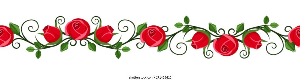 Vintage horizontal seamless vignette with red rose buds. Vector illustration.