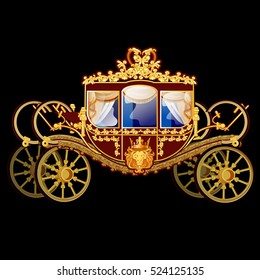 Vintage horse carriage with golden florid ornament isolated on a black background. Vector illustration.