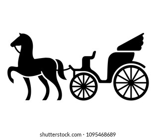 Vintage horse drawn carriage. Stylized silhouette of horse and passenger buggy. Black and white isolated vector illustration.