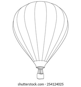 Vintage hot air balloon with basket vector icon isolated, summer sport, outline drawings