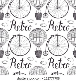 Vintage hot air balloon and bicycle pattern