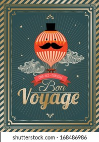 vintage hot air balloon bon voyage template vector/illustration