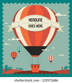 vintage hot air balloon in the sky vector/illustration /background/greeting card/ poster template
