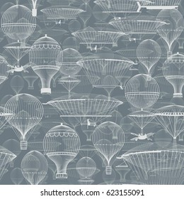 Vintage hot air balloons floating in the sky. Trendy seamless background, wallpaper. Monochrome in shades of blue