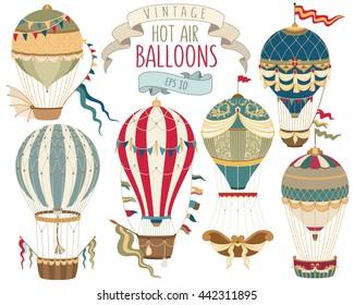Vintage Hot Air Balloons Vector