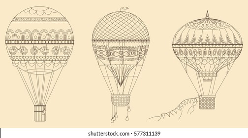 Vintage Hot Air Balloons Vector illustration. Thin line baloon collection