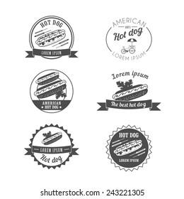 vintage hot dog logos, labels and design elements