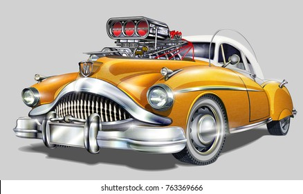 Vintage Hot Rod car isolated on white background.